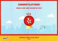 Yelp Park Patron Review Award