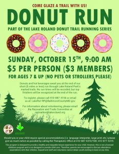 Lake Roland Donut Trail Running Series (October 2017) @ Lake Roland | Baltimore | Maryland | United States