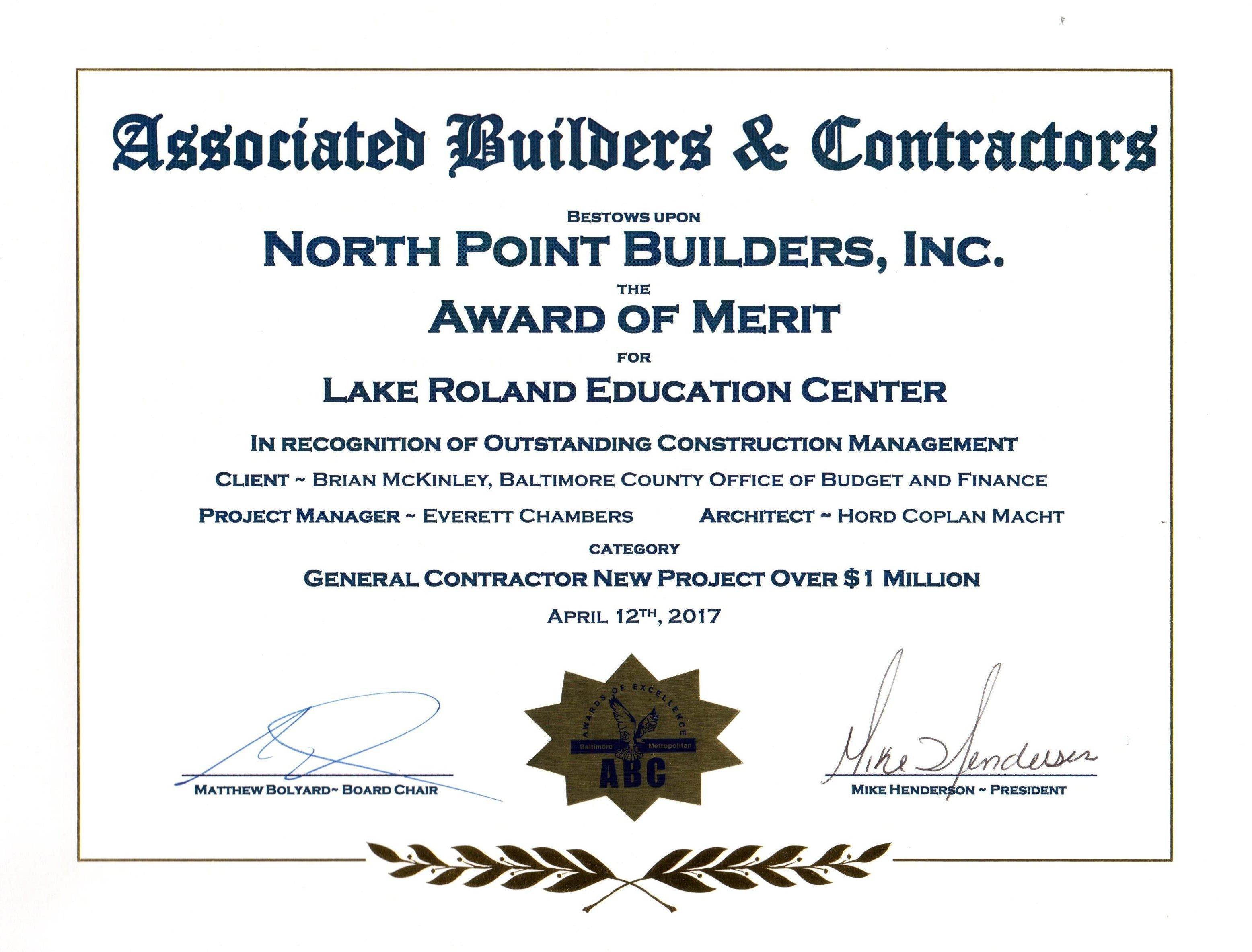 The Nature Center won the prestigious Associated Builders & Contractors Award of Merit