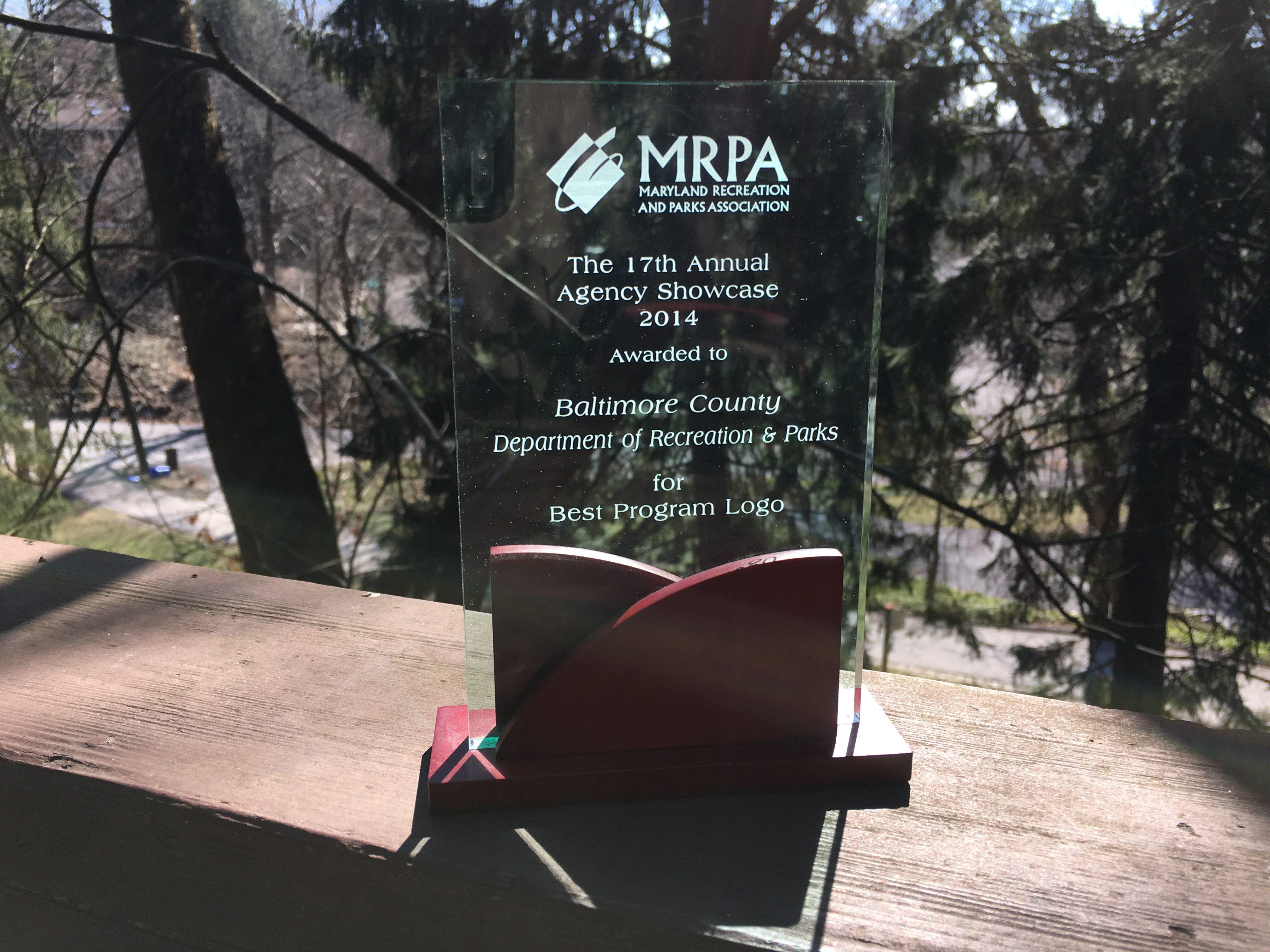Maryland Recreation and Parks Association award for Best Program Logo 2014