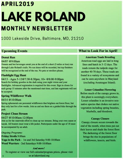 April 2019 Lake Roland Newsletter