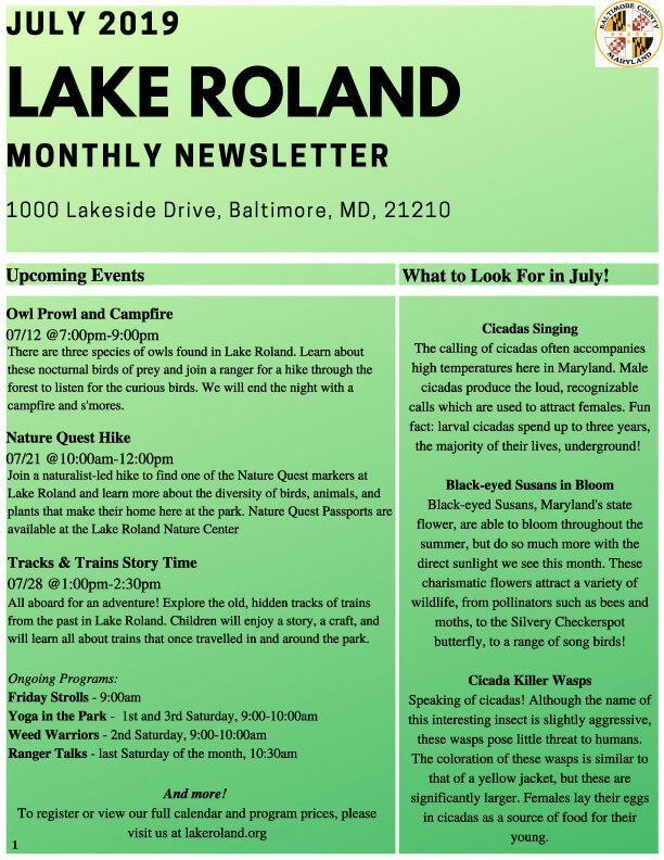 July 2019 Lake Roland Newsletter
