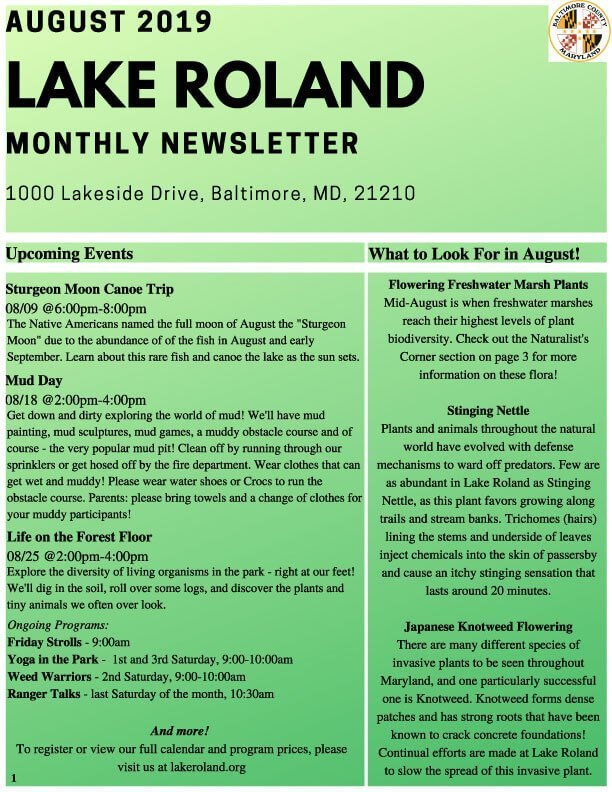 August 2019 Lake Roland Newsletter