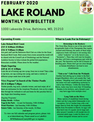 January 2020 Lake Roland Newsletter