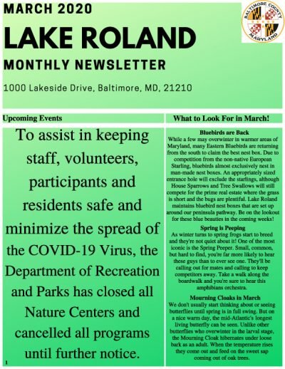 March 2020 Lake Roland Newsletter