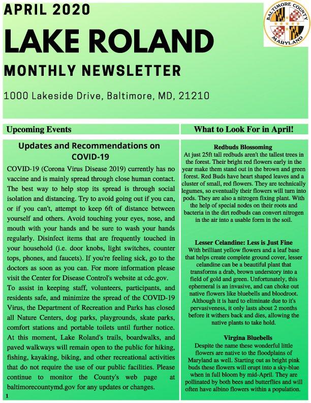 April 2020 Lake Roland Newsletter
