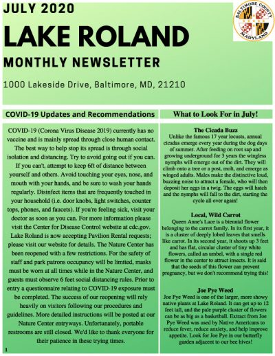 July 2020 Lake Roland Monthly Newsletter