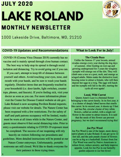 July 2020 Lake Roland Newsletter