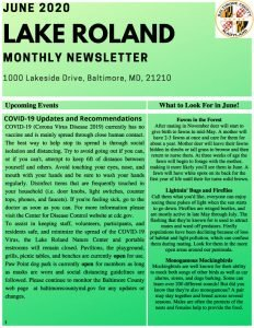 June 2020 Lake Roland Monthly Newsletter
