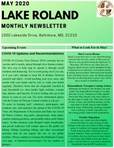 May 2020 Lake Roland Monthly Newsletter