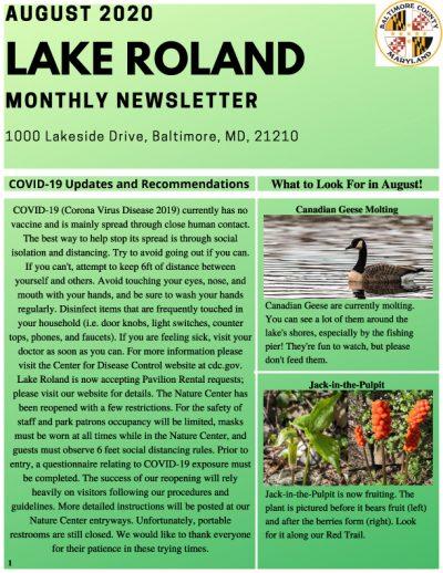 August 2020 Lake Roland Newsletter
