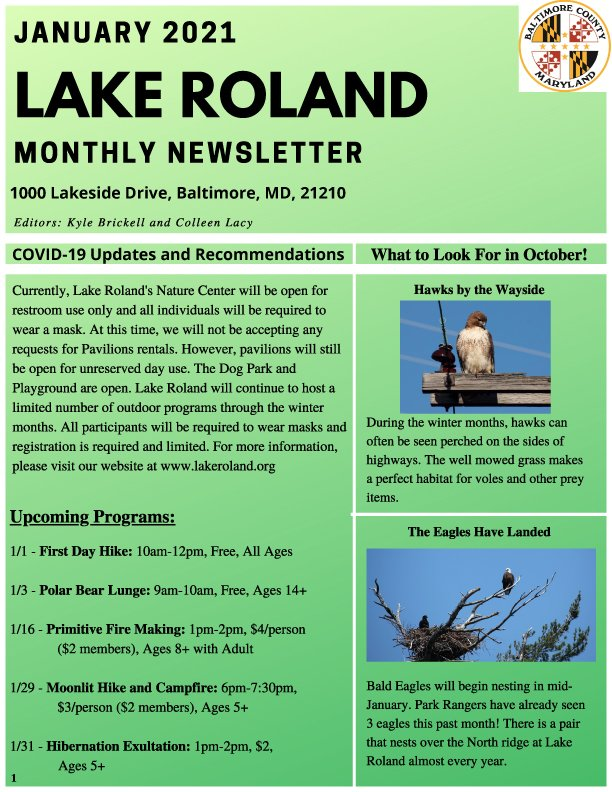January 2021 Lake Roland Newsletter
