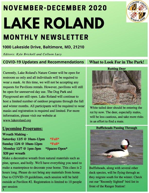 November/December 2020 Lake Roland Newsletter