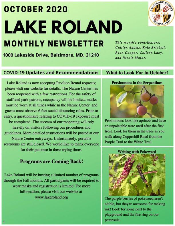 October 2020 Lake Roland Newsletter