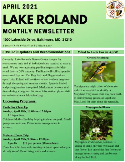 April 2021 Lake Roland Newsletter