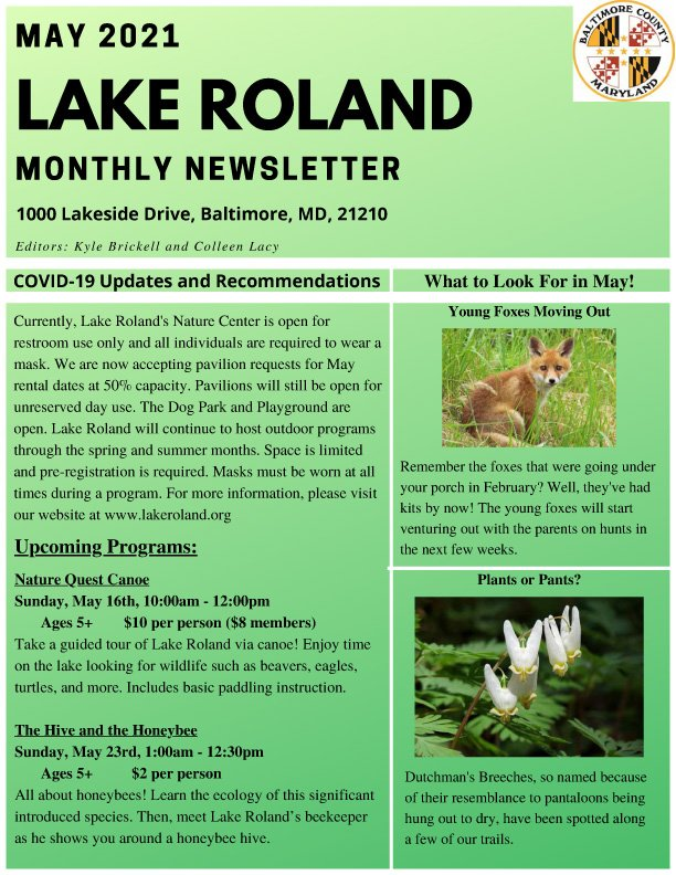 May 2021 Lake Roland Newsletter