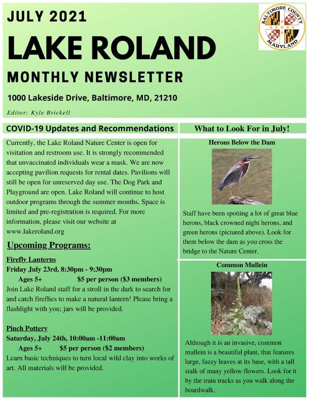 July 2021 Lake Roland Newsletter