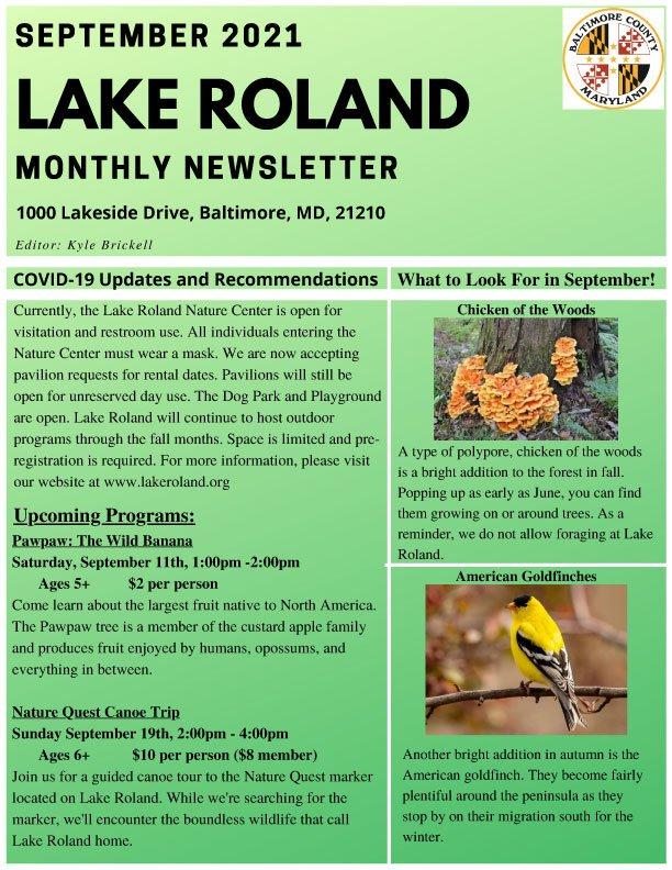 September 2021 Lake Roland Newsletter